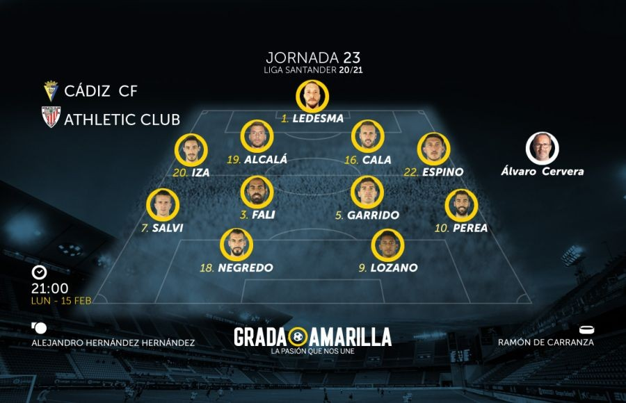 Alineación para el Cádiz CF - Athletic Club